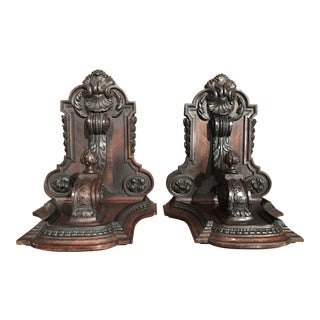 Pair of 19th Century French Carved Walnut and Veneer Corbels Wall Brackets