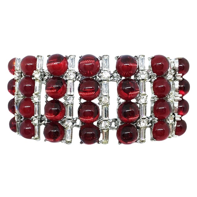 1960s Red Glass Cabochon and Rhinestone Cocktail Bracelet For Sale