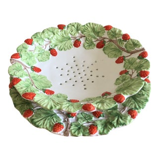 Vintage Hand Painted Italian Porcelain Raspberries Footed Strainer Set - 2 Pieces For Sale