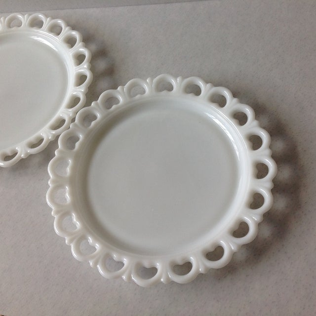 Lace Edge Milk Glass Cake Plates - Pair For Sale - Image 4 of 9