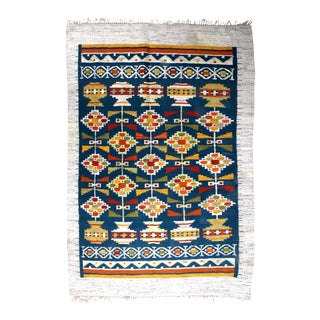 1950s handmade vintage Scandinavian flat-weave kilim 5.5' x 7.8' For Sale