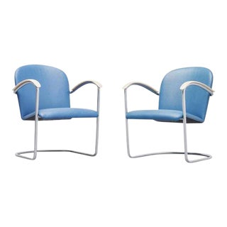 Wh Gispen Arm Chairs Model 414 for Th Delft, 1961
