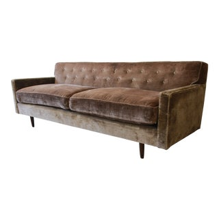 Baker Furniture Mid-Century Tufted Brown Velvet Sofa For Sale