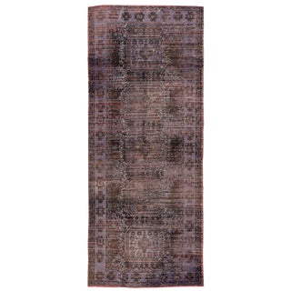 Vintage Overdyed Runner Wool Rug For Sale