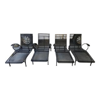 Mid Century Salterini Wrought Iron Chaise Lounges- Set of 4 For Sale