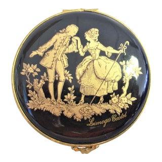 1940s Vintage French Limoges Porcelain Box For Sale