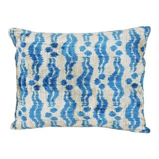Blue and Cream Chintamani Silk Velvet Pillow For Sale