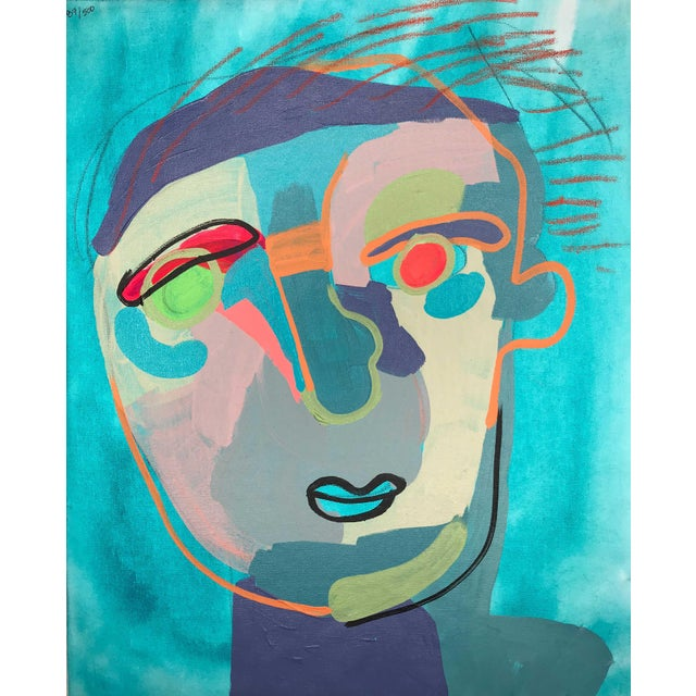 """Contemporary Abstract Portrait Painting """"Let's Chat"""" - Framed For Sale"""