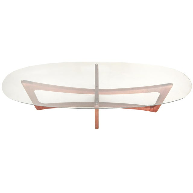 Adrian Pearsall coffee table with wood base and glass top.