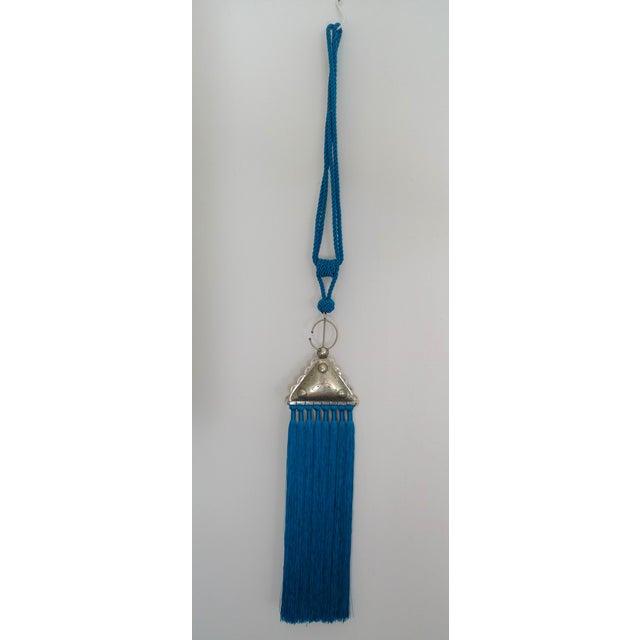 Moroccan Blue Silk & Brass Tassel Ornament - Image 3 of 8