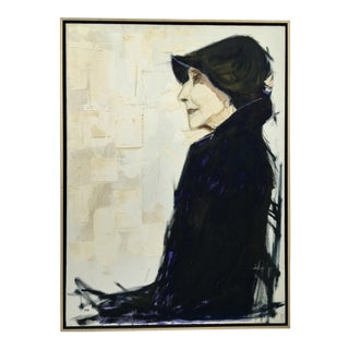 Early 20th Century Signed Acrylic Portrait by R. Barbee For Sale