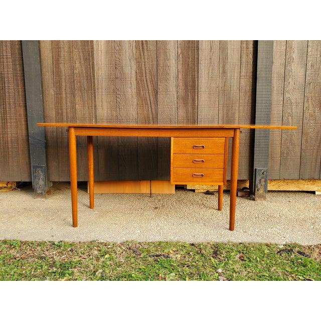 1950s Midcentury Danish Modern Arne Vodder Danish Teak Drop Leaf Desk For Sale - Image 9 of 13
