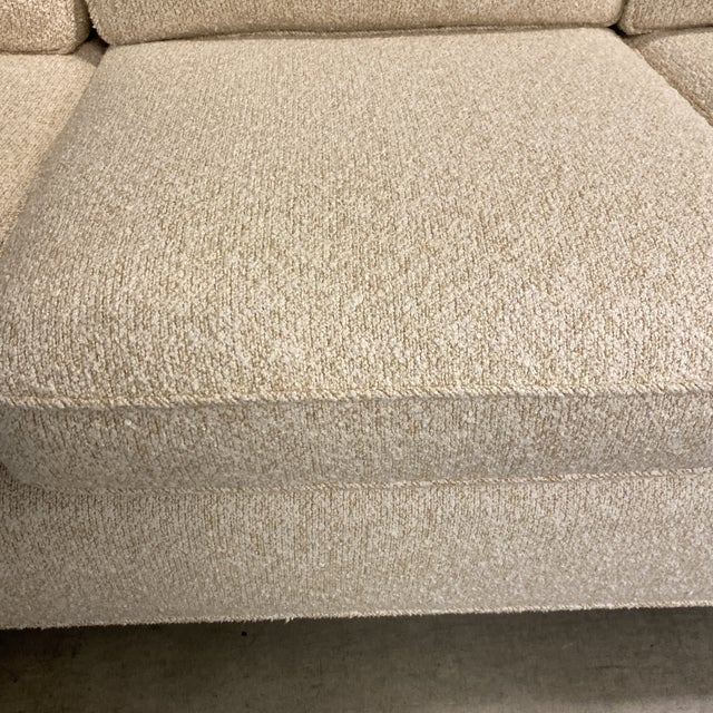 Custom Designed Nubby Cotton Three Seater Sofas - a Pair For Sale In San Francisco - Image 6 of 9