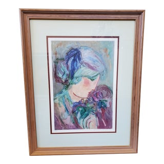 """Woman With Flowers"" Serigraph For Sale"
