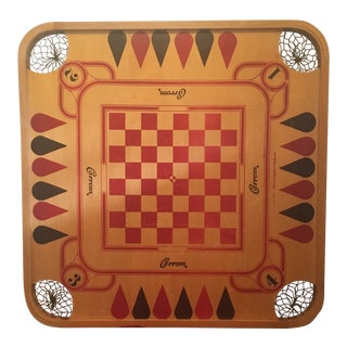Mid Century Modern Carrom Two-Sided Game Board For Sale