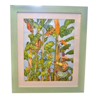 1980s Vintage Banana Leaf Watercolor Painting