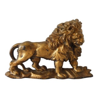 Antique Gilt-Painted Cast-Iron Lion Doorstop For Sale