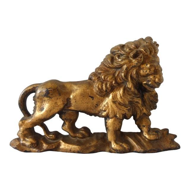 Antique Gilt-Painted Cast-Iron Lion Doorstop For Sale