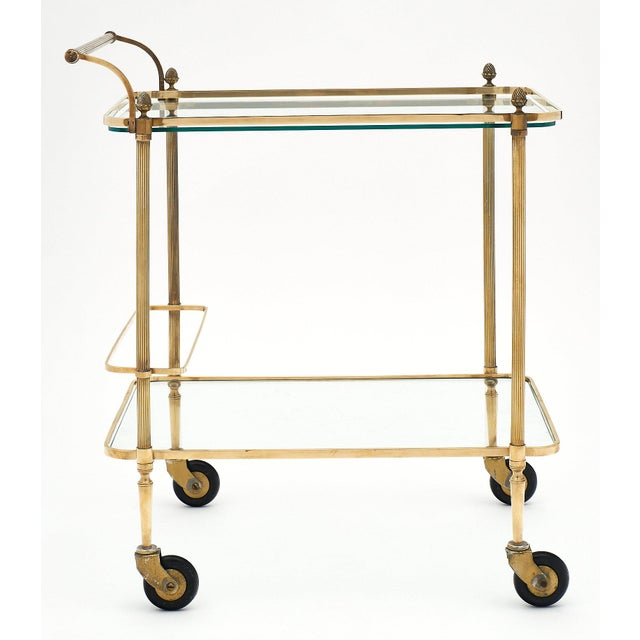 Metal French Art Deco Period Brass Bar Cart With Finials For Sale - Image 7 of 10