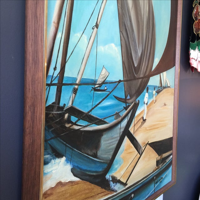1973 Nautical Oil Painting by Walt Walker For Sale - Image 4 of 9