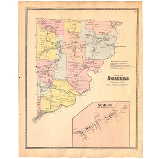 Somers, Westchester County, New York, Original Map, Vintage, Antique Map 1867 For Sale