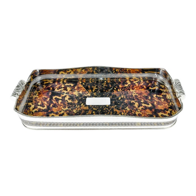 English Oblong Faux Tortoise Shell Silver Plated Footed Tray For Sale