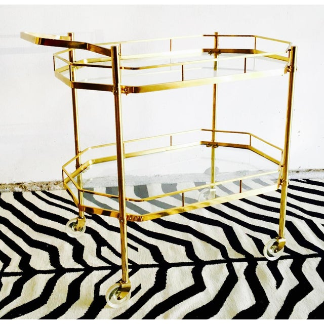 1960's French Brass Bar Cart - Image 6 of 6