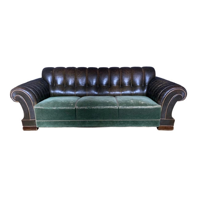 Danish 1930s Art Deco Green Leather Channeled Sofa For Sale