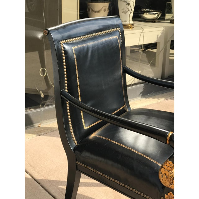 French Empire Leather Chairs - a Pair - Image 5 of 7