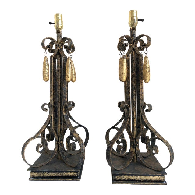 Gold Brushed Metal Lamps With Four Hanging Brushed Gold Fobs - a Pair For Sale