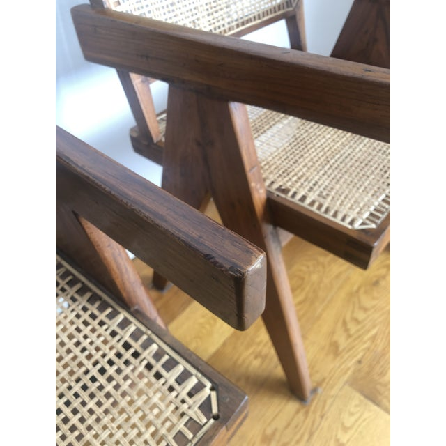 Wood Pierre Jeanneret Caned Armchairs - a Pair For Sale - Image 7 of 11