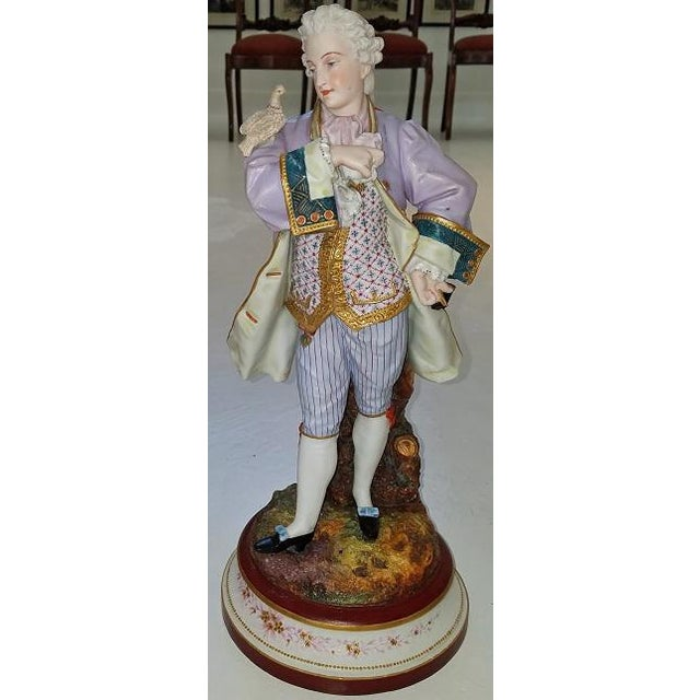 Old Paris Pair of 18c French Old Paris Porcelain Figurines- A Pair For Sale - Image 4 of 13