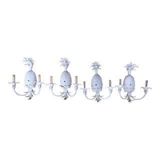 Hollywood Regency White-Painted Pineapple Form Wall Lights - Set of 4 For Sale