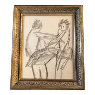 Vintage Original Charcoal Figure Nude Study Drawing For Sale