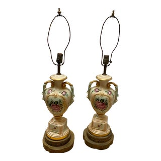 Antique French Victorian Urn Table Lamps - A Pair For Sale