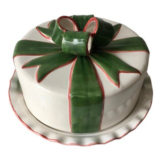Ribbons and Bows Covered Cake Plate For Sale