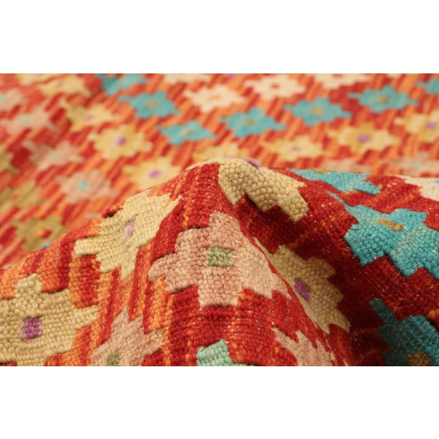 "Orange Turkish Kilim Rug- 4'11"" X 6'4"" For Sale - Image 8 of 9"
