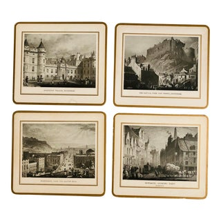 English Scenic Edinburgh Tablemat Coasters - Set of 4 For Sale