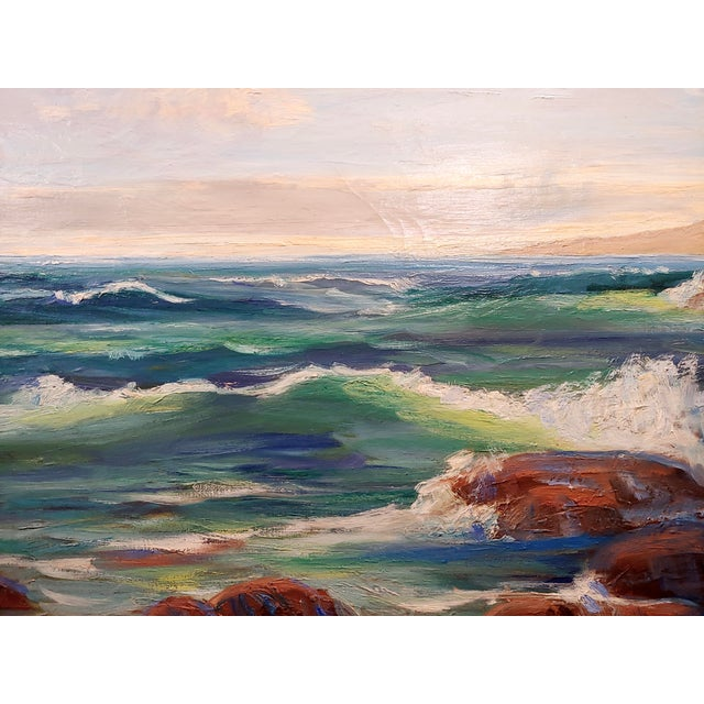 Impressionist James Arthur Merriam California Rocky Seascape Oil Painting For Sale - Image 3 of 9