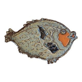 Helen Friedman Whimsical Glazed Ceramic Fish Platter C.1980 For Sale