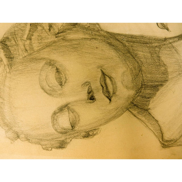 Vintage Modern Female Head Portrait Drawing For Sale In Chicago - Image 6 of 7