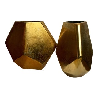 1980s Geometric Metal Vases - A Pair For Sale