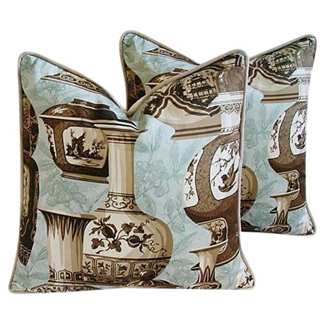 Custom Braemore Chinoiserie Vase Pillows - A Pair - Image 1 of 9