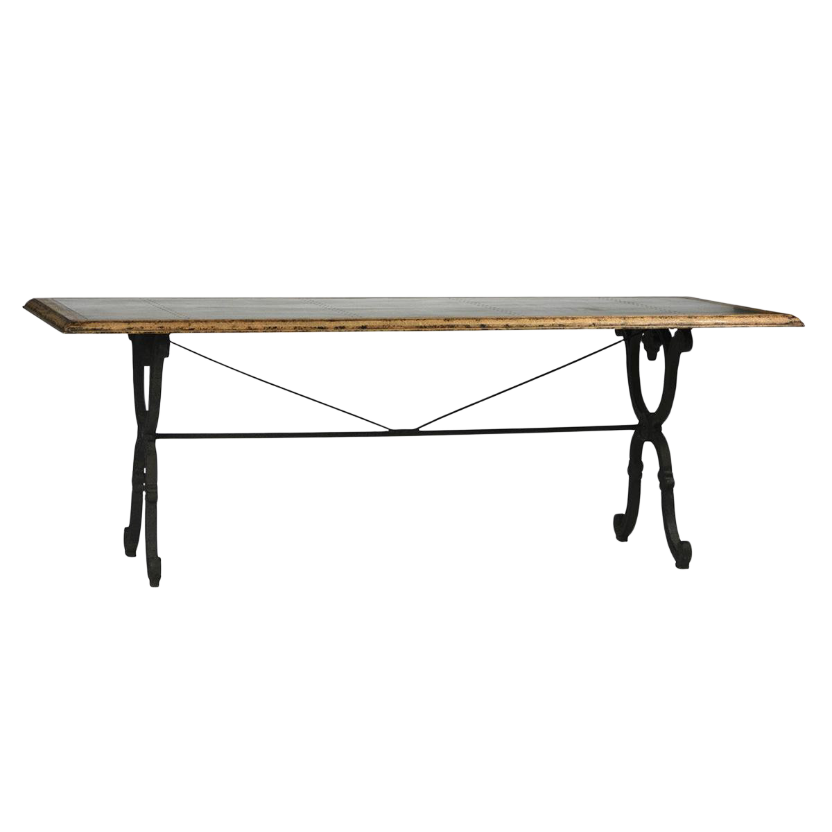 zinc top dining table small zinc top with cast iron dining table gold hammered base chairish