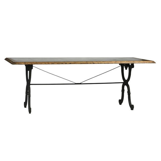 Zinc Top With Cast Iron Dining Table For Sale