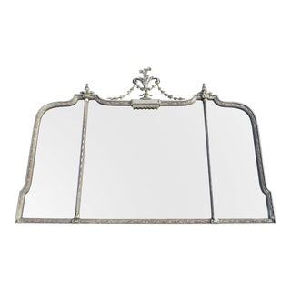 Vintage Robert Adam Neoclassical 3-Panel Overmantle Mirror With Silver Finish For Sale