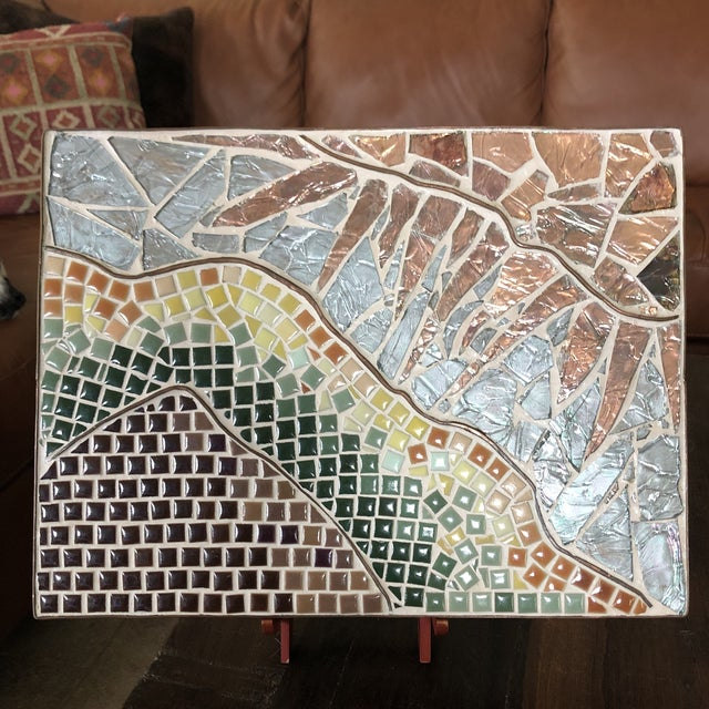 1960s Vintage Tile Glass and Copper Encased Mosaic Wall Hanging For Sale - Image 12 of 12