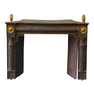 American Federal Cast Iron and Brass Fireplace Insert Mid 19th C. For Sale