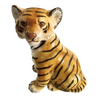 Vintage Plaster Tiger Decorative Statue For Sale