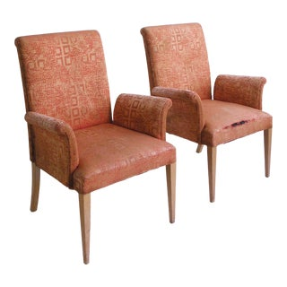Art Deco Highback Arm Chairs by R Way- A Pair For Sale